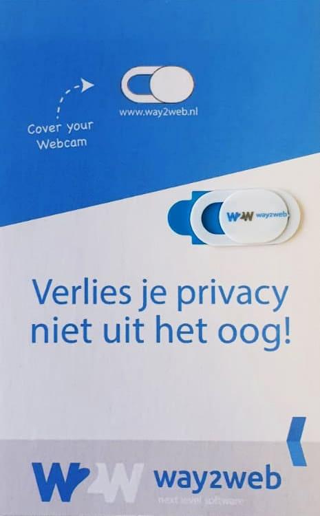 Bedrukte webcam cover met kaartje